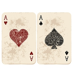Ace of Hearts and Spades vector image