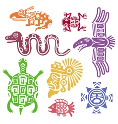 Ancient mexican symbols Mayan culture indian with vector image vector image