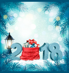 christmas holiday background with 2018 and red vector image vector image