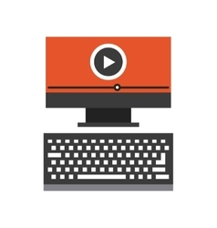 computer desktop flat line icon vector image vector image