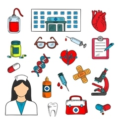 Hospital doctor and medical icons vector image vector image