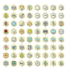 Thin Line Icons For Leisure Sport Travel vector image vector image