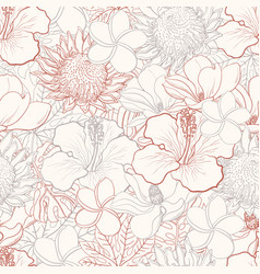 tropical flowers seamless pattern with white hand vector image