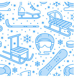 Winter sports blue seamless pattern equipment vector