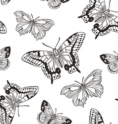 Beautiful seamless background of butterflies black vector image