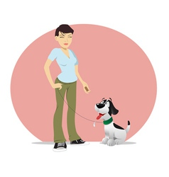 dog owner treat vector image vector image