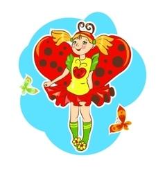 girl wearing ladybug costume vector image vector image