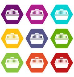 pet carry case icon set color hexahedron vector image