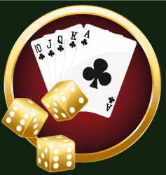 Royal flush and dices vector