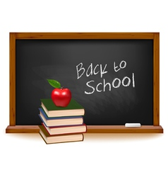 school books with apple on desk vector image