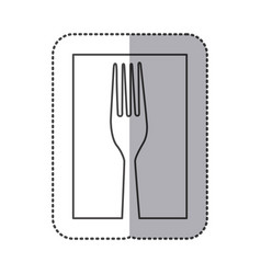 silhouette fork cutlery icon vector image
