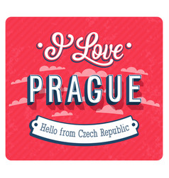 Vintage greeting card from prague vector