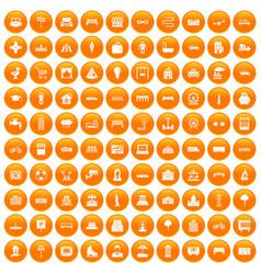 100 urban icons set orange vector