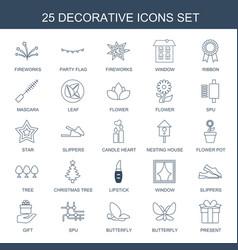 25 decorative icons vector image