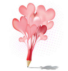 Abstract red pencil heart balloon icon vector