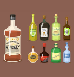 Alcohol strong drinks in bottles cartoon glasses vector