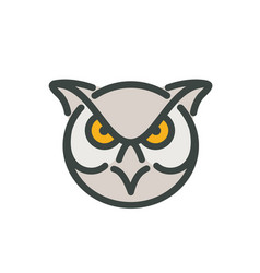 Angry great horned owl head mono line vector