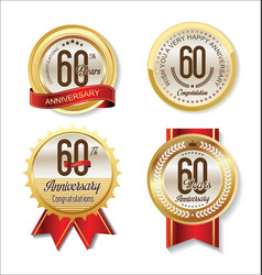 anniversary retro vintage golden labels vector image
