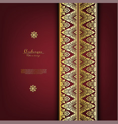 Arabesque thai classic gold background border vector