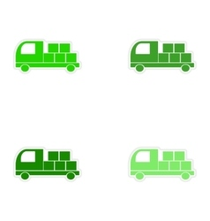 Assembly realistic sticker design on paper car vector