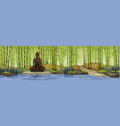 Bamboo forest with buddha statuemeditation vector