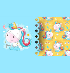 baunicorn washing hands with pattern background vector image