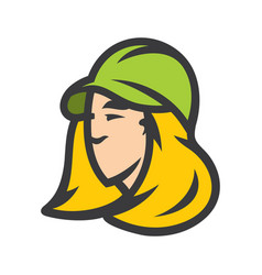 blonde woman in a cap sign vector image