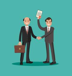businessman handing a certificate vector image