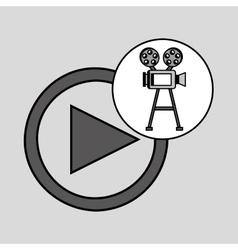 Camera film vintage with movie play vector