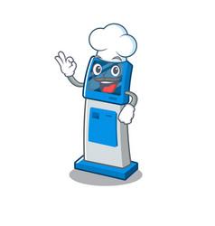 Chef information digital kiosk with in cartoon vector