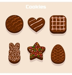 Chocolate cookies in different shapes set vector image
