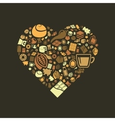 Chocolate icons in heart vector