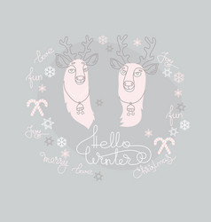 christmas greeting card with two cute deers vector image