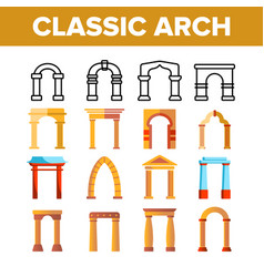 Classic arch thin line icons set vector
