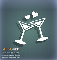 Cocktail in glass with hearts icon On the vector