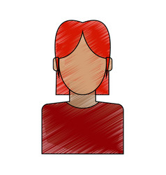 Color pencil faceless half body woman with t-shirt vector
