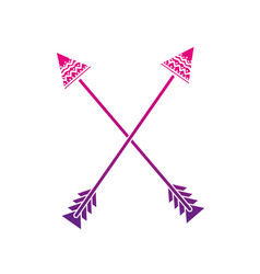 color silhouette arrows native object with vector image