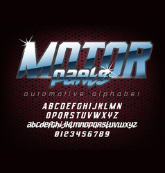 Cool automotive typeface vector