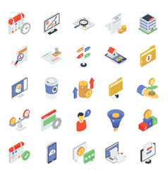 Corporate icons in modern isometric style vector