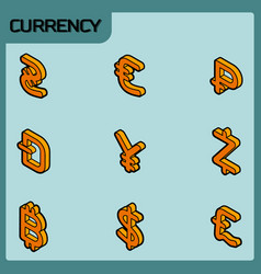 currency color outline isometric icons vector image