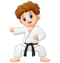 Cute little boy doing karate vector