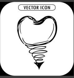dental implant hand drawn icon vector image