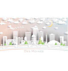 des moines iowa usa city skyline in paper cut vector image