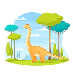 Dinosaurs wildlife cartoon composition vector