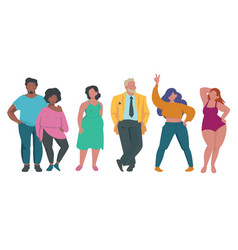 Fat people body positive attractive characters vector