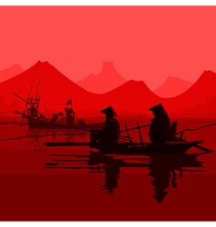Fishermen in the vietnamese hats sitting in boats vector