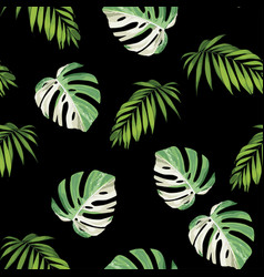 floral seamless leaves pattern with tropical plant vector image