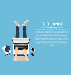 Freelancer working at home with laptop top view vector