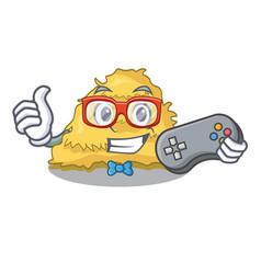 Gamer hay bale mascot cartoon vector