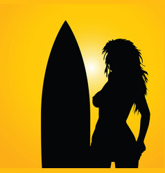 Girl with surfboart silhouette on yellow vector